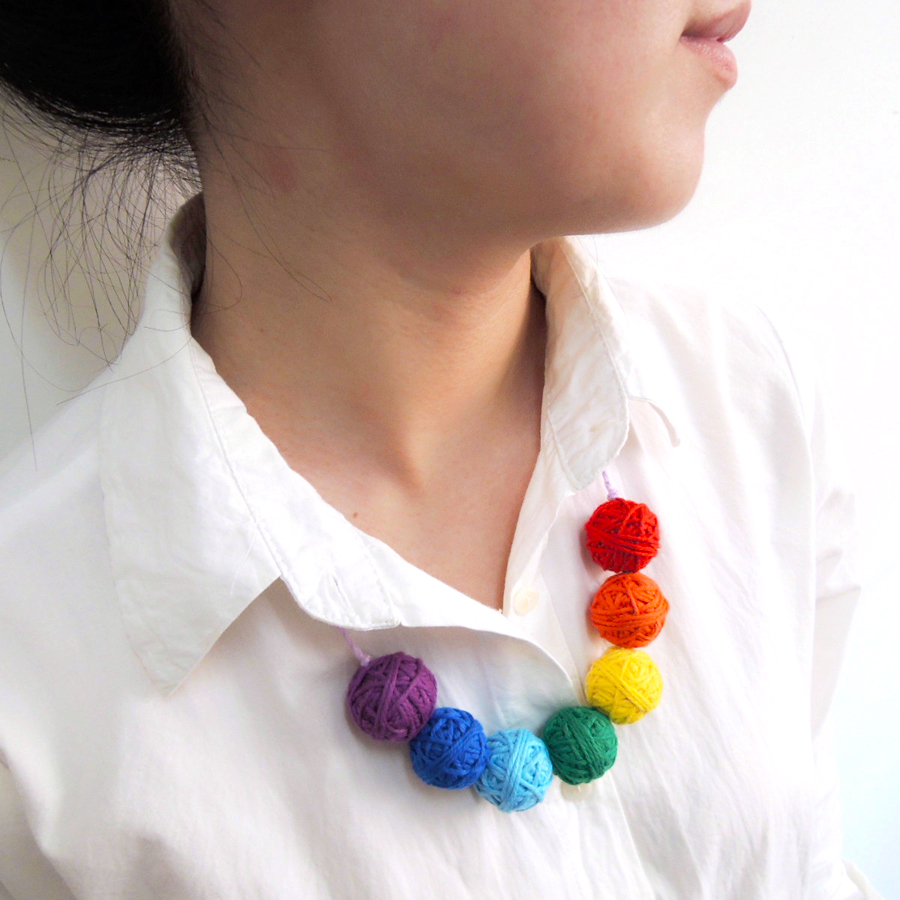 2017 New light jewelry 25mm crochet voodoo ball Rainbow beaded necklace cotton for women fiber natural summer colorful WN01