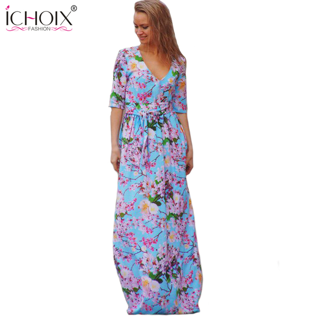 b90ef4c5a52 ICHOIX Women Floral Print Long Chiffon Dresses 2017 Elegant Summer Dress  Maxi Dress Female floor length 2XL Plus Size Clothing