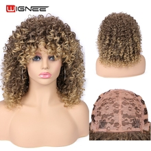 Wignee Kinky Curly Wig With Bangs High Density Temperature Mix Brown Blonde None Lace Synthetic Wigs For Women African American