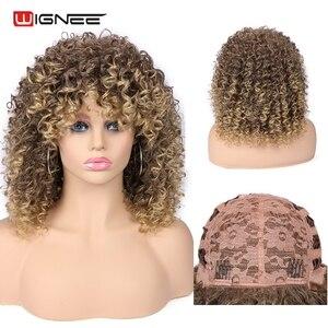 Image 1 - Wignee кудрявые афро вьющиеся парики с челкой смешанный коричневый блондинка синтетические парики для чернокожих женщин афроамериканские волокна натуральные волосы парики