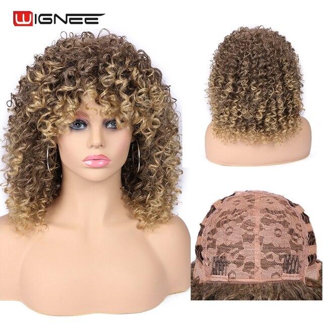 Wignee кудрявые афро вьющиеся парики с челкой смешанный коричневый блондинка синтетические парики для чернокожих женщин афроамериканские волокна натуральные волосы парики