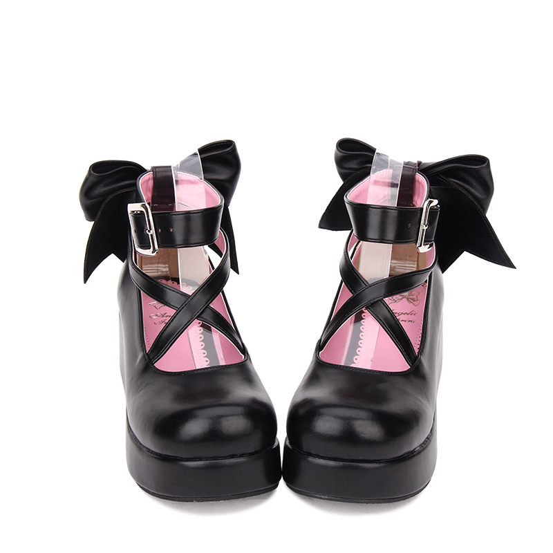 Angelic imprint New Designer Sweet Lolita style PU Leather Bowknot Round Toe Platform shoes Women Pumps size 35-46
