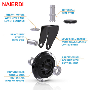 """Image 5 - 5PCS NAIERDI 3"""" Universal Mute Wheel Office Chair Caster Replacement 60KG Swivel Rubber Soft Safe Rollers Furniture Hardware"""