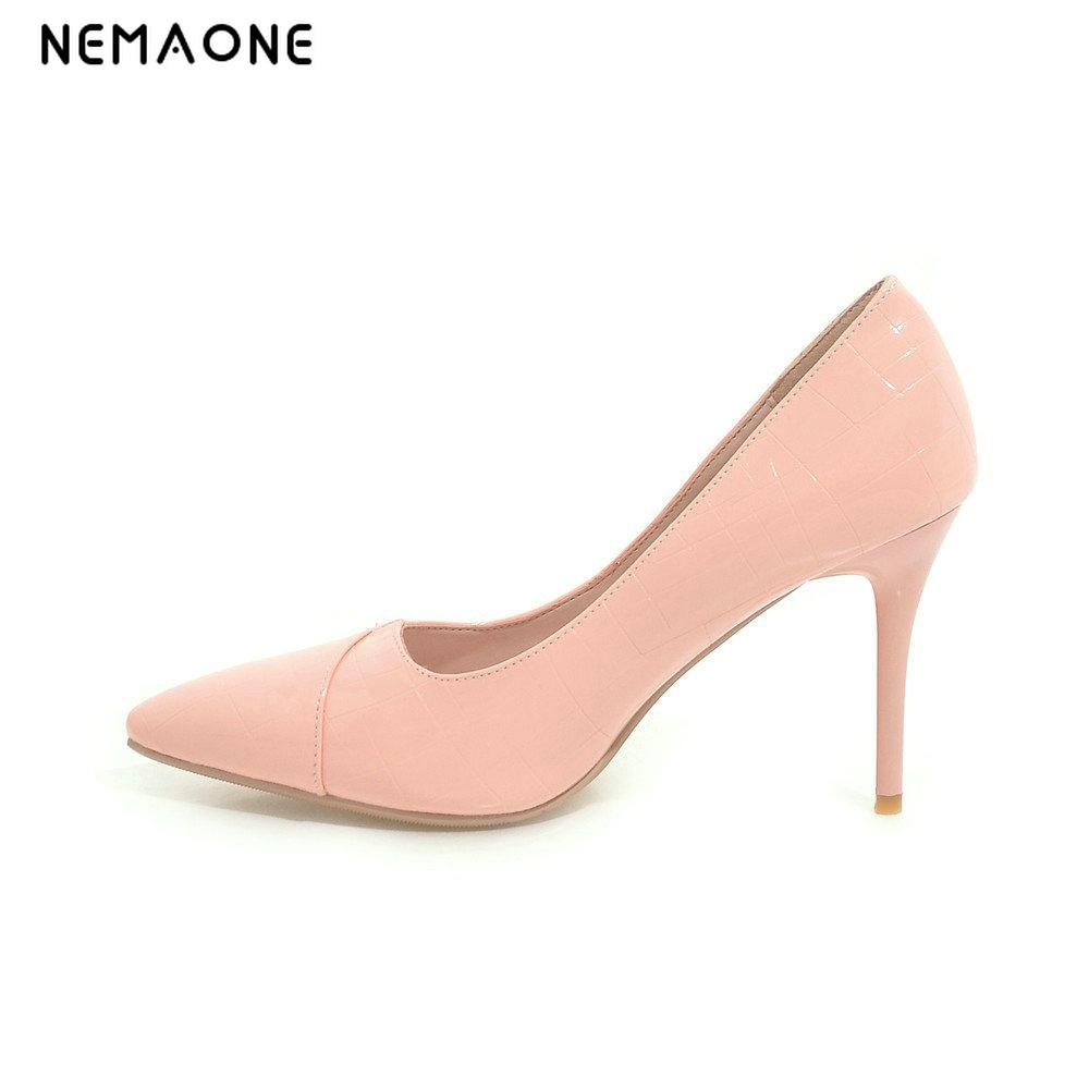 NEMAONE 2017 new Size 4~8 Elegant Office Commuter Women Shoes Autumn black High Heels Sexy Pumps zapatos mujer size 4 9 summer black women shoes elegant white flower high heels shoes cross women pumps zapatos mujer check foot length