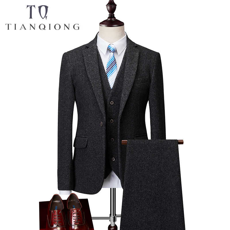 3 ピース結婚式の男性のスーツ 2018 新着秋高品質黒スマートカジュアルスーツ男性、男性のスーツプラスサイズ M-6XL