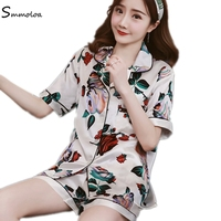 Smmoloa Short Sleeve Silk Pajamas Set Two Pieces Set Women Sleepwear Sexy Nightwear Women
