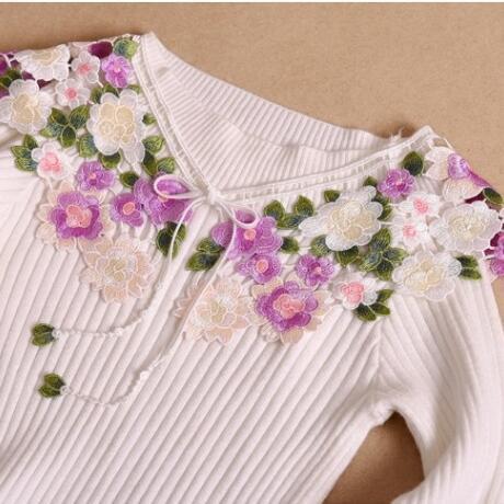 SICODA для женщин Фиолетовый хлопок Элегантный кружево воротник деликатное качество вязание цветок средства ухода за кожей шеи Интимные аксе