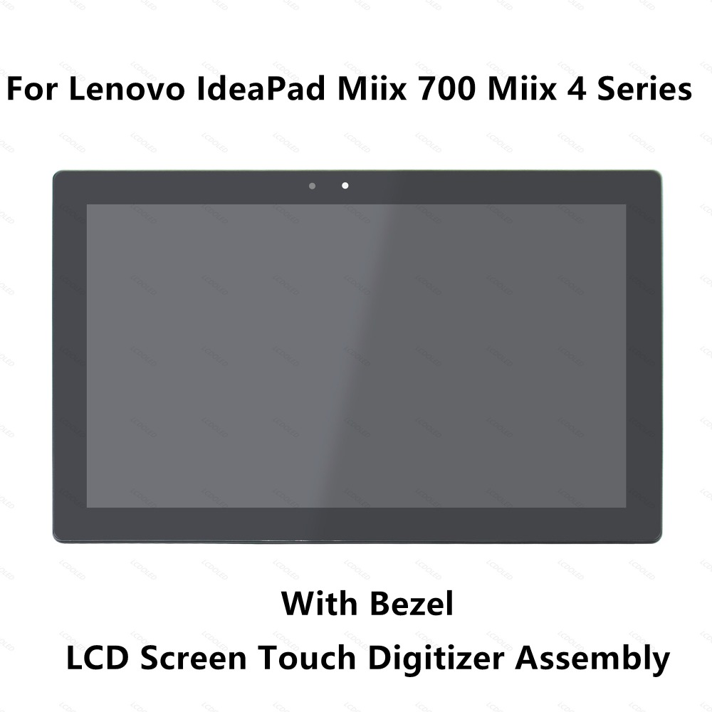 12'' For Lenovo IdeaPad Miix 700 Miix 4 Series LTL120QL01-001 Full LCD Screen Display Panel Touch Glass Digitizer Assembly+Bezel ynmiwei for miix 320 tablet keyboard case for lenovo ideapad miix 320 10 1 leather cover cases wallet case hand holder films