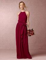 QQ-010 2016 التصميم الجديد الأنيق الرسن مثير النبيذ الأحمر فستان العروسة الطابق طول مخصص خادمة الشرف فساتين
