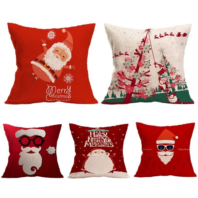 1Pcs 45x45cm Pillow Case Merry Christmas Decorations for Home Cartoon Elk Linen Decorative Pillows Cover Cushion Home Decor