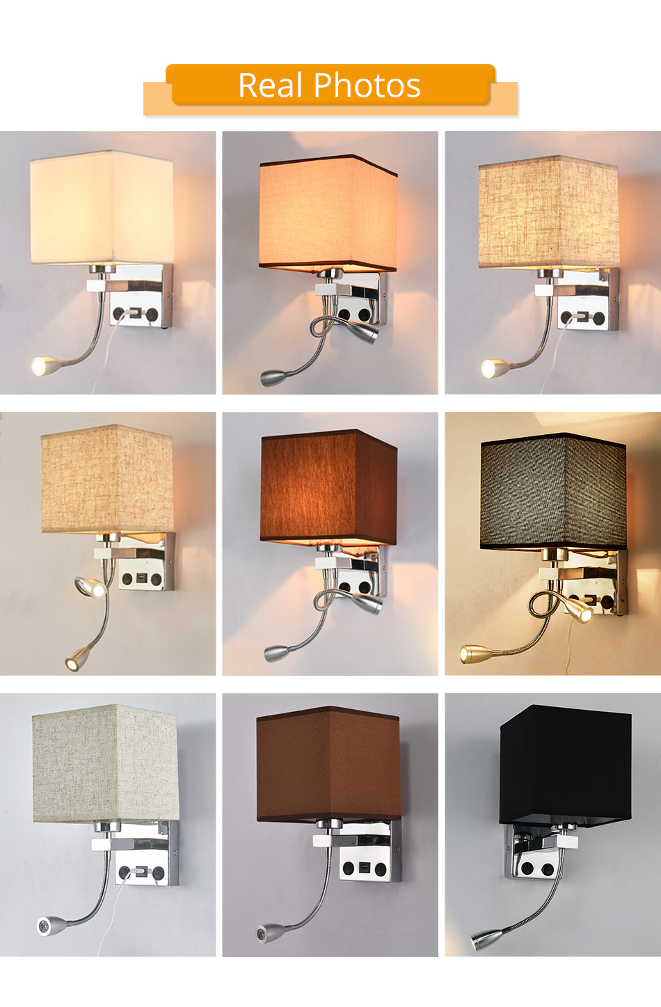 Modern Indoor LED Wall Lamp Bedside Bedroom Applique Sconce With Switch USB E27 Bulb Interior Headboard Home Hotel Wall Lights (10)