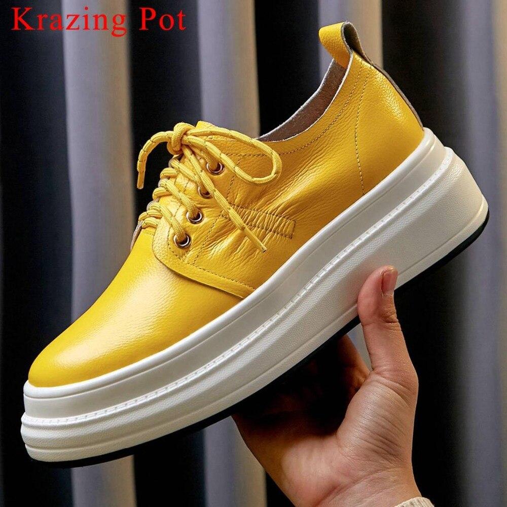 Krazing Olla natural suave punta redonda de cuero de fondo de encaje zapatillas de deporte estilo conciso ventilado de ocio zapatos vulcanizados zapatos L26-in Zapatos vulcanizados de mujer from zapatos    1
