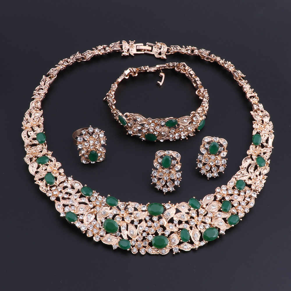 OEOEOS Nigerian Beads Necklace Earrings Jewelry Set Luxury Cubic Zirconia Women Wedding Jewelry Sets for Brides Turkish Jewelry