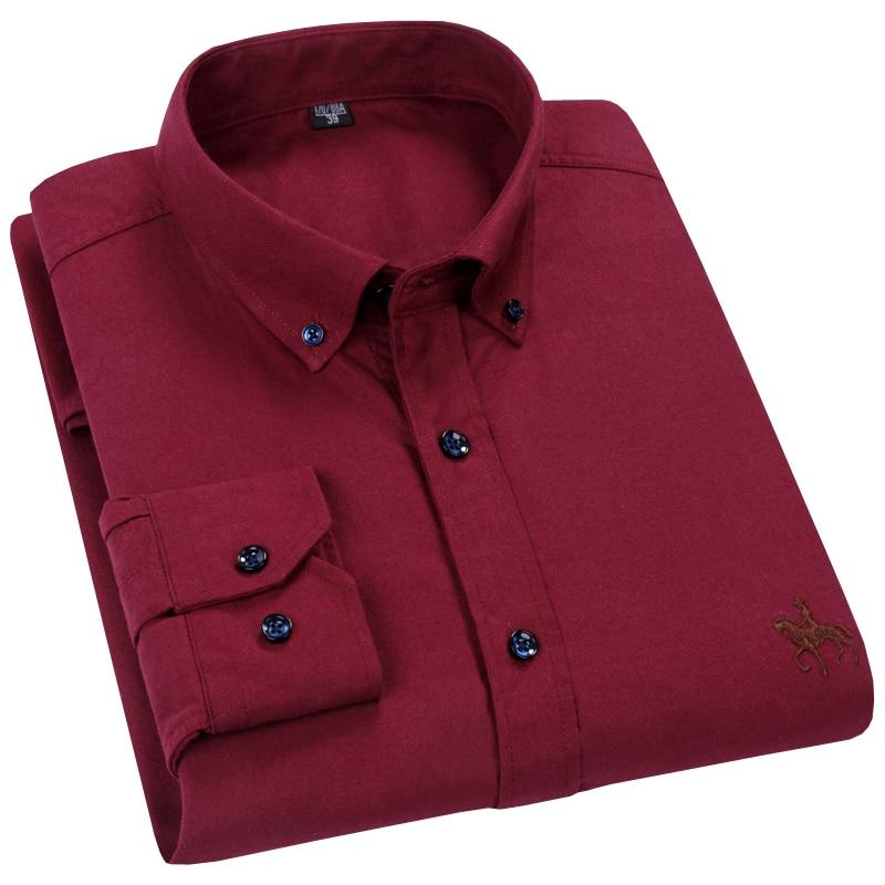 2019 Nieuwe Ontwerp Wijn Rode Oxford 100% Katoen Hoge Kwaliteit Button down Business Mannen Dress Shirts Lange Mouw Formele mannen Shirts op AliExpress - 11.11_Dubbel 11Vrijgezellendag 1