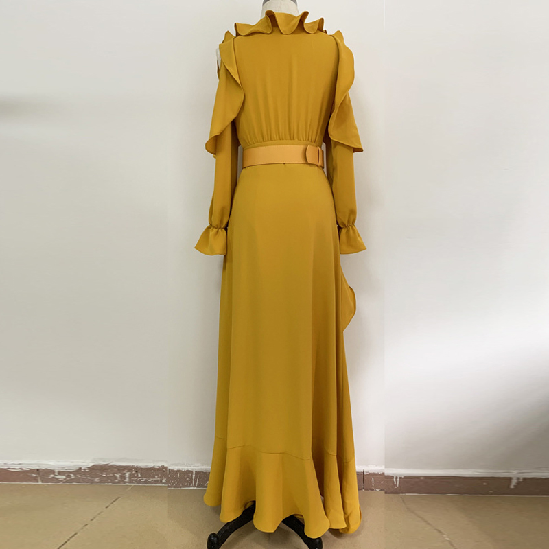 High Quality Runway Luxury Sexy Hollow Out Ruffled Maxi Dress Women Long Sleeve Yellow Elegant Evening Party Dresses Vestidos in Dresses from Women 39 s Clothing