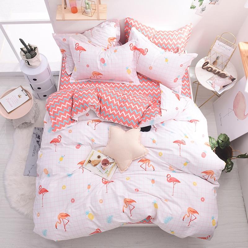 Flamingo rose ensembles de literie filles mignon housse de couette ensemble 100% coton doux lit ensemble avec drap plat couette couvre taies d'oreiller