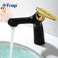 Frap 1 Set New Black Golden Antique Brass Single Handle Bathroom Basin Faucet Cold And Hot