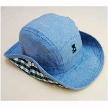 0ada174a5f415 Baby Cowboy Hat Kids Blue Jean Sun Hats Boy Summer Caps With Chin Strap  Kids Bucket Hat 0-7Y Children Sun Visor