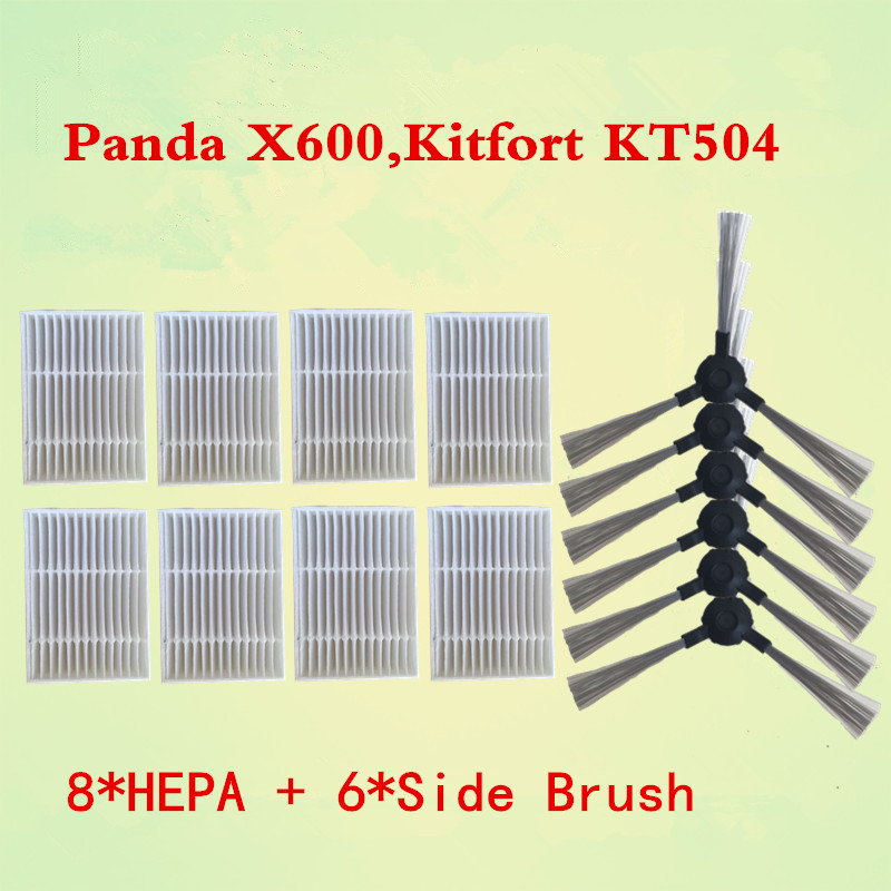14pcs/lot Side Brush*6+hepa Filter*8 For Panda X600 Pet Kitfort Kt504 Robotic Robot Vacuum Cleaner Parts Vacuum Cleaner Parts