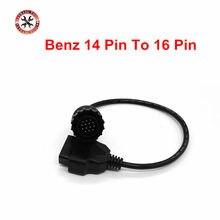 OBD2 escáner OBD 2 Cable redondo hembra para Mercedes /Benz 14 Pin a 16 Pin Sprinter auto herramientas de diagnóstico Cable de adaptador de conector