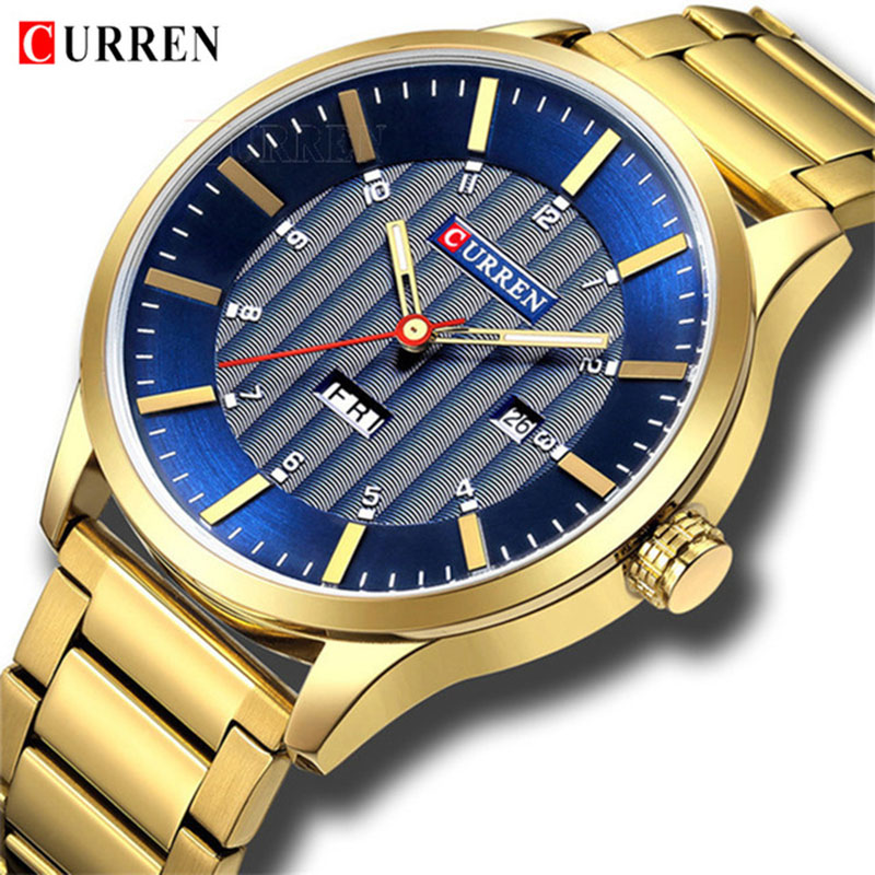 CURREN 8316 new men's fashion brand steel belt week calendar life waterproof sports quartz watch stainless steel men's watch все цены