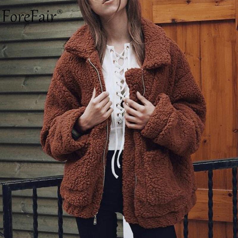Forefair Winter Übergroßen Faux Pelzmantel Frauen Natürliche Pelz Teddybär Jacke Taschen Revers Casual Lose Plus Größe Mantel