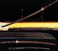 Ручной работы полный тан японский самурай катана жаба домашний Декор металл Кендо дамасский меч в сложенном виде черный и красный Сталь Sharp