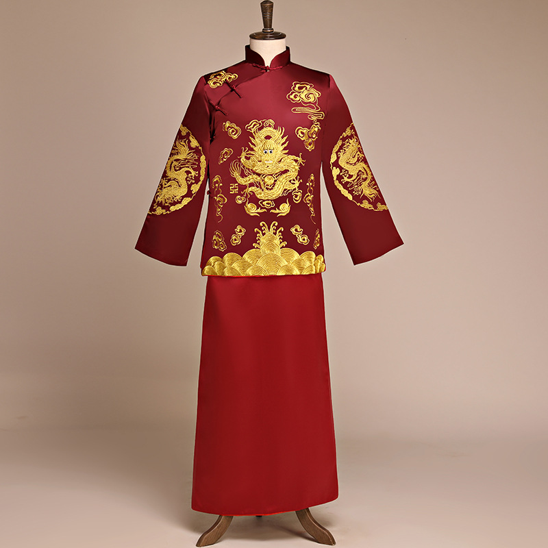 Burgundy Suzhou Embroidery Dragon Hanfu Clothes For Men Chinese Vintage Style Costume Suit Asian Traditional Wedding Long Robe