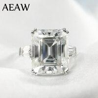 Мм 5 карат ct 9x11 мм DF класс Изумрудный огранки обручение и свадебные Moissanite Lab Diamond Багет кольцо Подлинная 14 К к 585 Белое золото