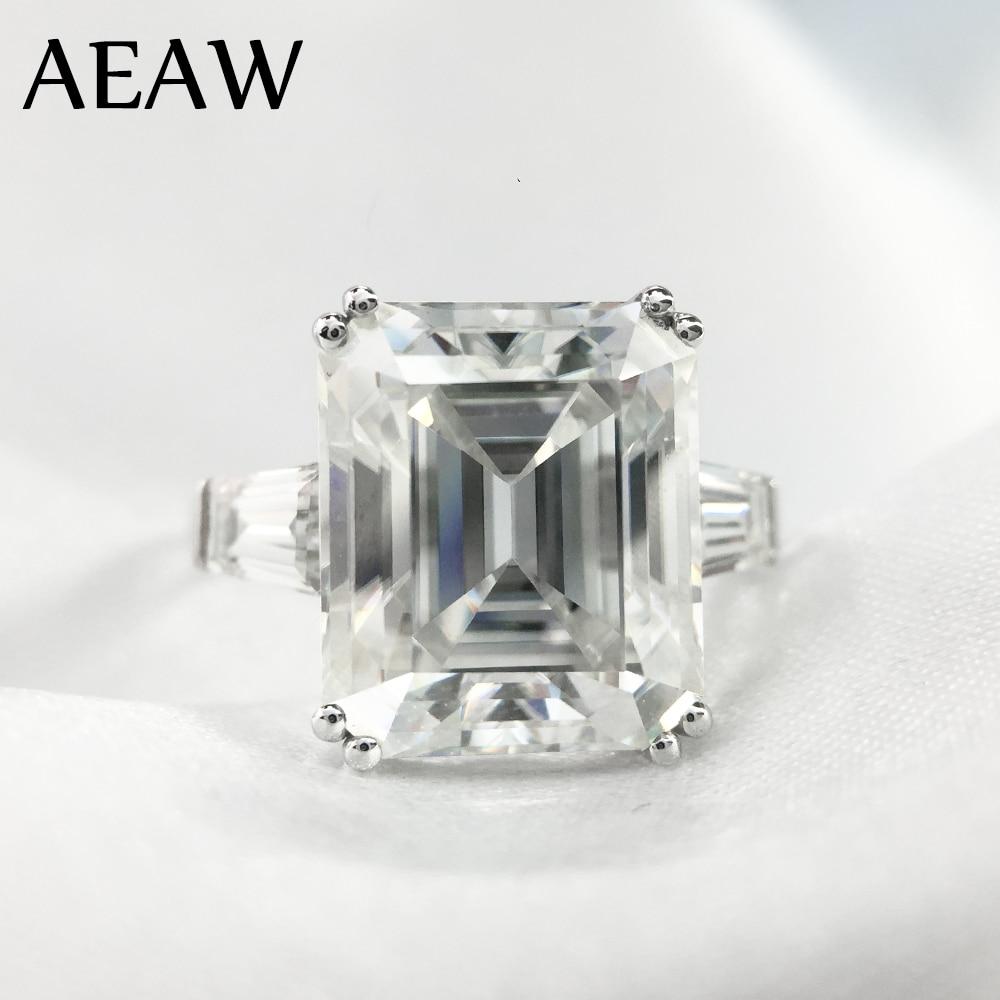 5 quilates ct 9x11mm grado DF Esmeralda corte compromiso y boda Moissanite laboratorio diamante baguette anillo genuino oro blanco de 14 K 585