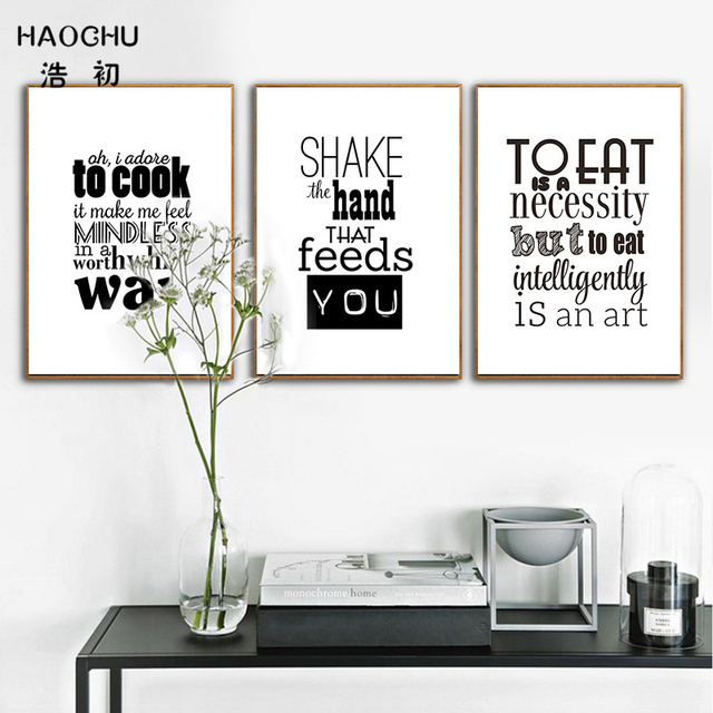 Haochu Nordic Art Of Eat Cookfood Quotes Wall Canvas Painting