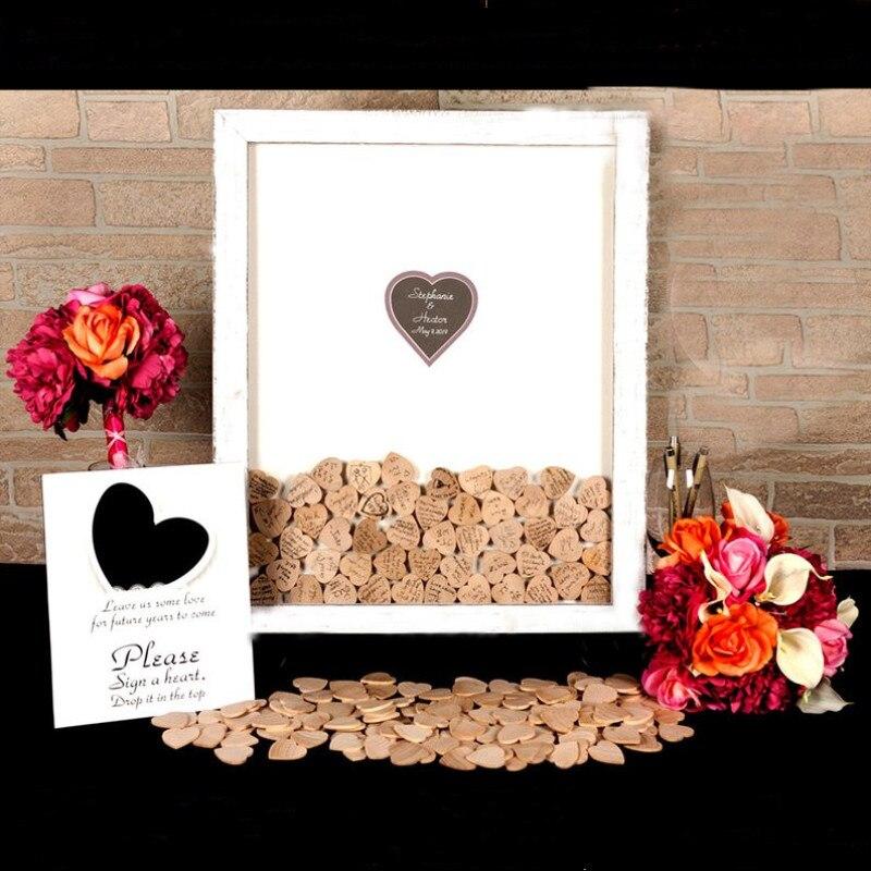 Boîte en bois de chute de mariage livre d'invité Signature personnalisée livre d'invité de cadre de livre d'invité avec la couleur et le nom faits sur commande de coeur