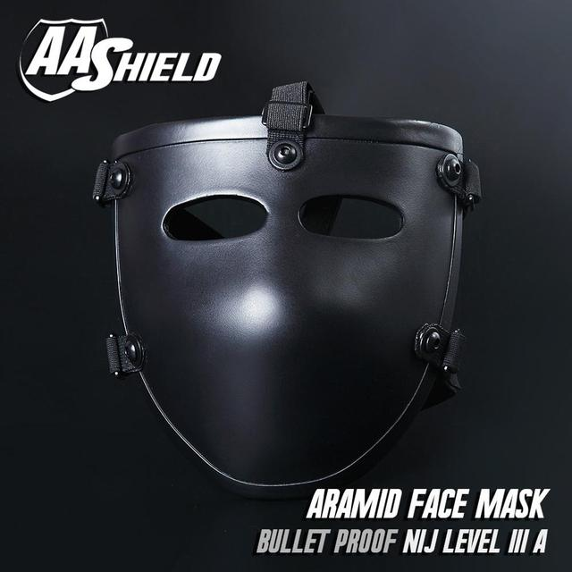 AA Shield Ballistic Visor Face Bulletproof Glass Mask For Fast Helmet Body Armor Mask NIJ Lvl IIIA 3A Teijin Mask Aramid Code