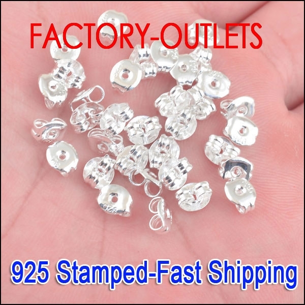 Big Promotion Fast Shipping 6X5MM 200PCS 925 Sterling Silver Fashion Jewelry Stud Earrings Findings Stud Pin Jewelry Settings