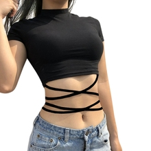 Women's Crop Top Sexy High Neck Criss Cross Bandage Camisole T-Shirts Tops Solid criss cross back crop cami top