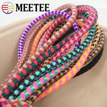 Meetee 5/10meters 5mm Leopard Elastic Rubber Band DIY Headwear Round Elastic Tendon Rope Hand Knotted Hair Ring Material EB009