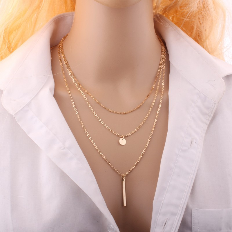 KISS WIFE 2016 Women Gold Fatima Hand 3 Layer Chain Bar Necklace Beads and Long Strip Pendant Necklaces Jewelry ...