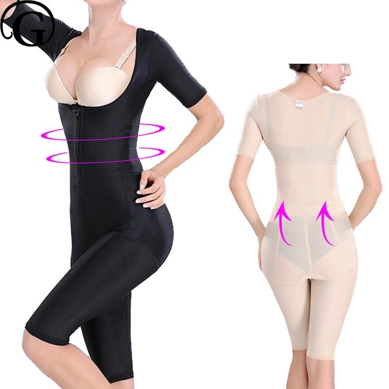 Women Full Body Shapers Open Butt Lift Bras Bodysuits Slimming Thigh Sleeves Recovery Abdomen Shapewear