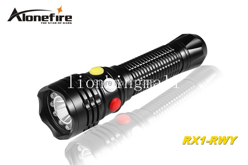 AloneFire RX1-RWY CREE XP-E Q5 LED Red White Yellow light Multi-function signal lamp flashlight torch