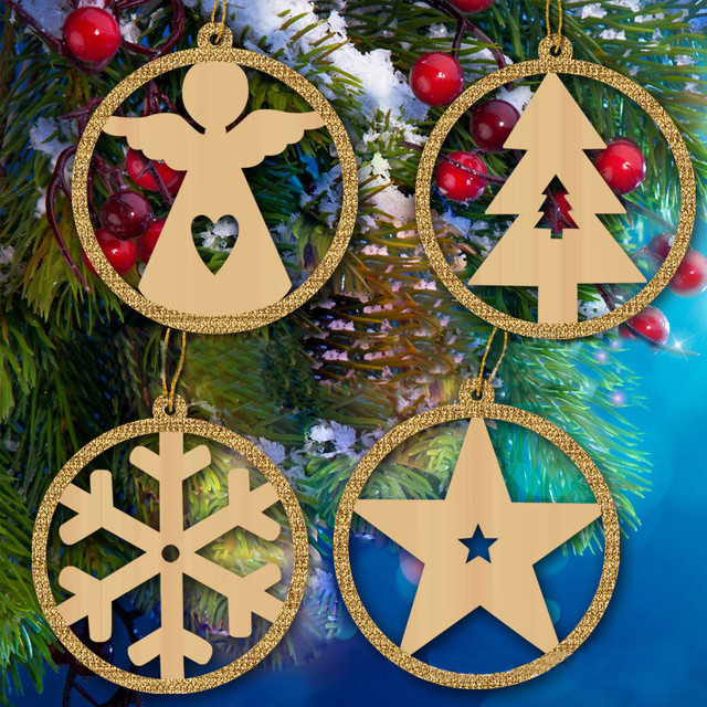4pcs Christmas Ornaments Snowflakes Angel Tree Wooden Pendants