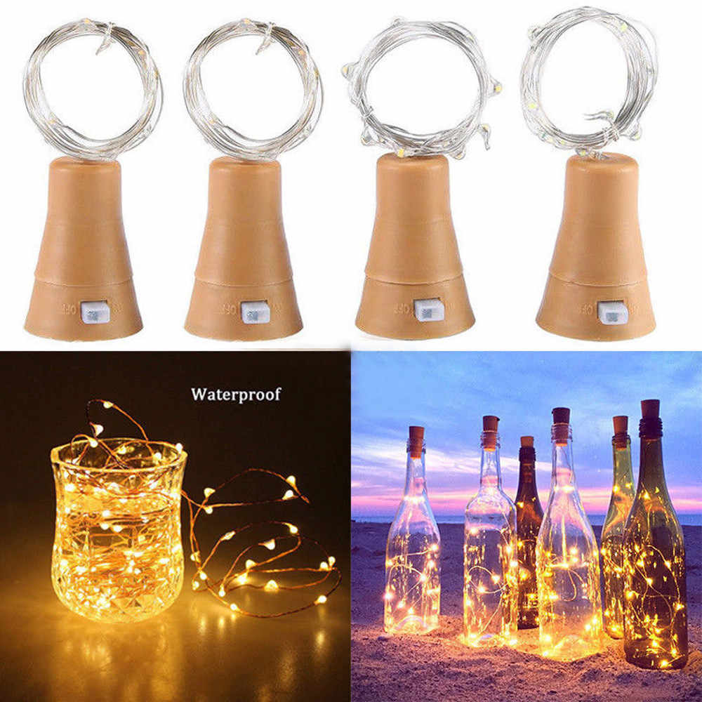 2019 New PCS 1.5M Solar Cork Wine Bottle Stopper Copper LED Wire String Lights Fairy Lamps Outdoor Party Decoration bot#25