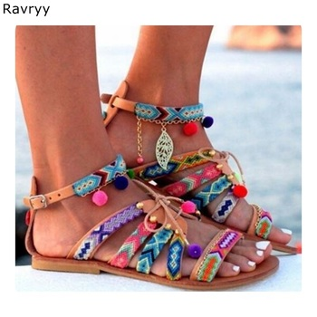 Colorful pompon woman sandals Summer hot fashion ankle buckle flats mixed color bohemian casual shoes female beach shoes
