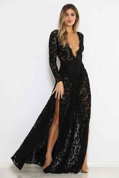 22bd69650142 ... BKLD High Slit Sexy Hollow Out Black Lace Dress Women Long Sleeve Deep V -neck ...