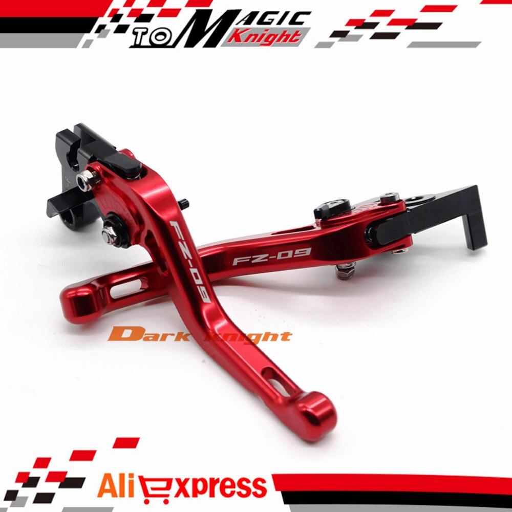 ФОТО For YAMAHA FZ09 FZ-09 2014-2015 Red Motorcycle CNC Billet Aluminum Short Brake Clutch Levers Logo FZ-09