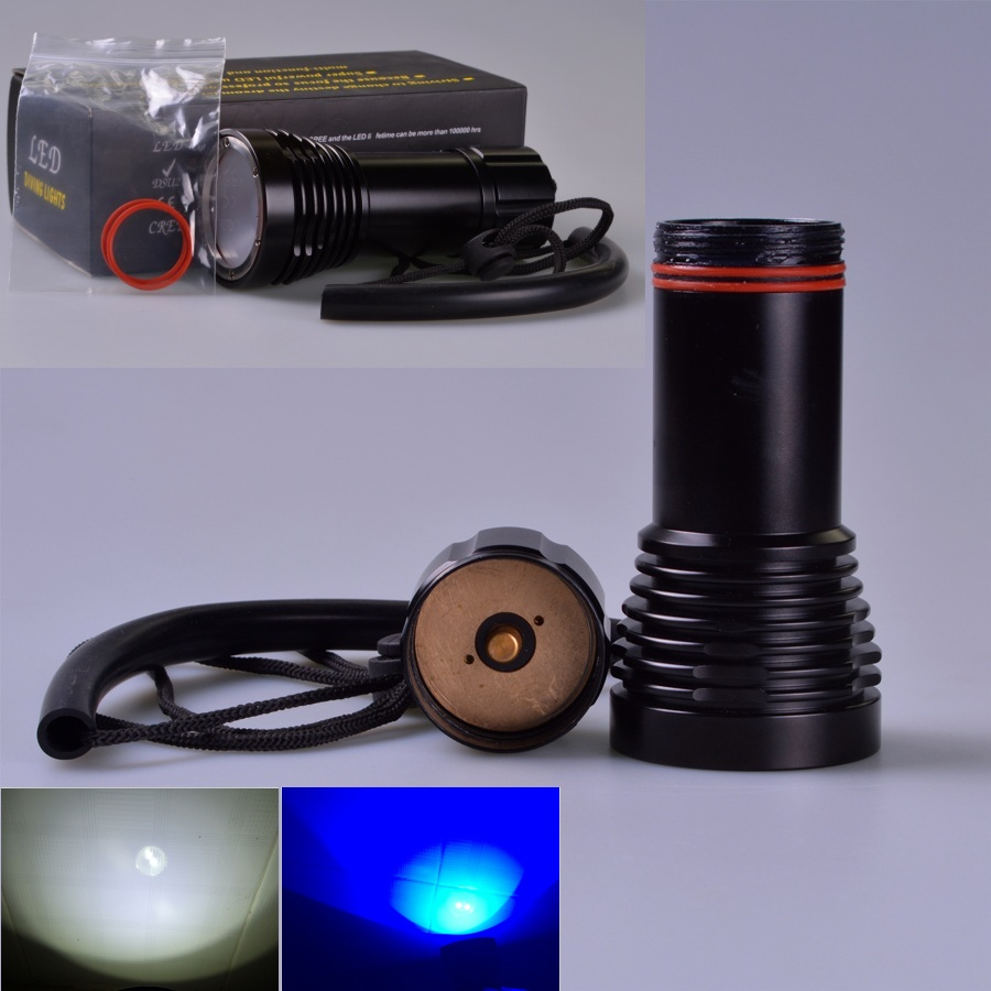 D32VR Underwater Diving Video Flashlight 2*CREE LED Blue Lights Light Dive Lamp + 2x CREE XML U2 LED White Light scuba diving d32vr underwater scuba diving video flashlight 2 cree leds blue light 2xcree xml u2 led white light 32650 battery charger