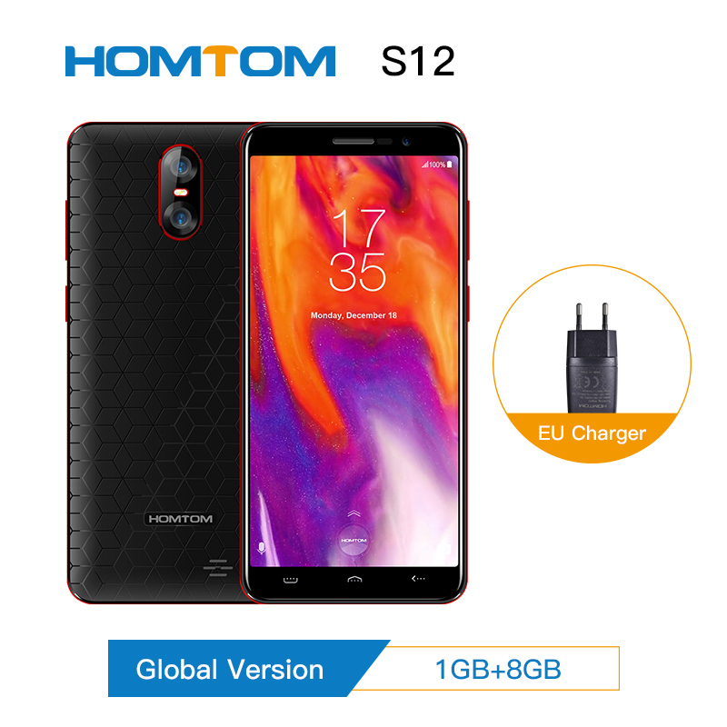 Authentic Global Version HOMTOM S12 Full Screen Mobile Phone 8GB 5 Inch Android 6.0 Quad Core 8/2MP Back Dual Camera Smartphone