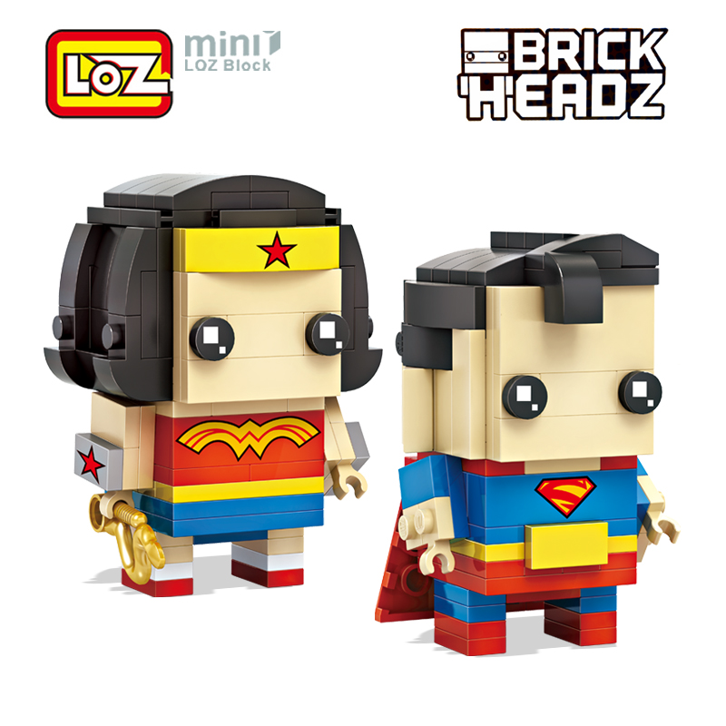 LOZ Wonder Woman and Superman Super hero Mini Building Blocks Brick Heads Action Figure Toy RPG Game Brinquedos 6+ 268PCS 1701 loz mini diamond block world famous architecture financial center swfc shangha china city nanoblock model brick educational toys
