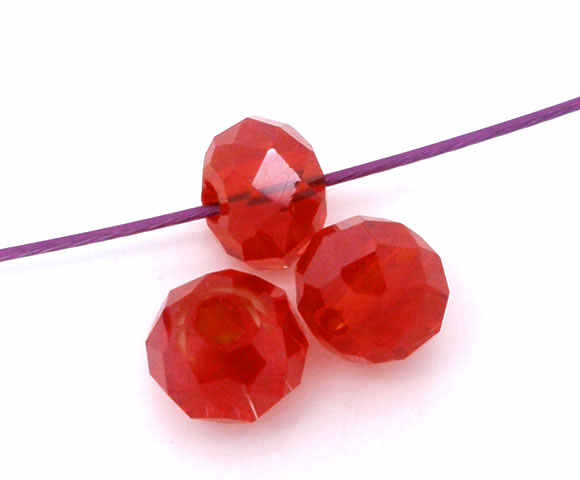 "DoreenBeadsแก้วหลวมลูกปัดกลมแบนสีแดงใสเหลี่ยมเพชรพลอยเกี่ยวกับ4มิลลิเมตร(1/8 "") Dia,หลุม:ประมาณ0.8มิลลิเมตร, 20ชิ้น"