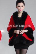 Scarves Shawl 2015 autumn new high-end womens wool knit jacket imitation fox fur collar shawl waistcoat 42265