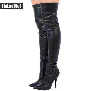 Image 4 - Jialuowei en satış bayanlar seksi sivri burun uyluk yüksek çizmeler, kadınlar yüksek topuklu kaskad Platform çizmeler uyluk yüksek kış çizmeler
